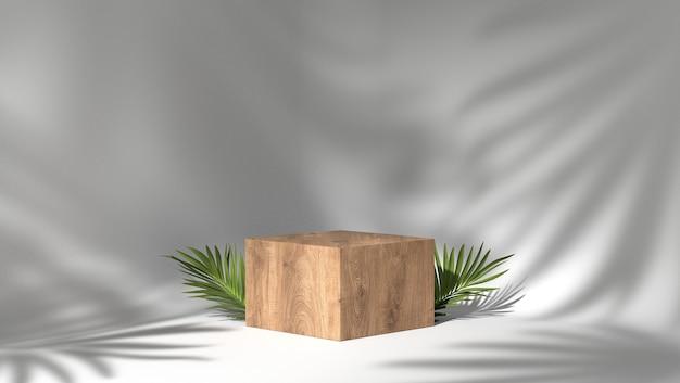 3d-weergave van een houten podium