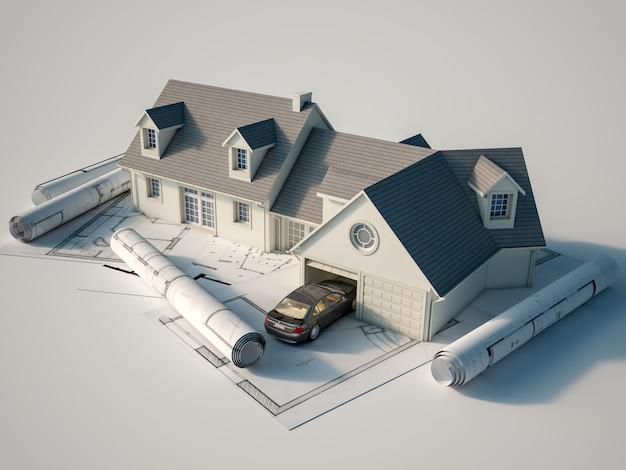 3d-weergave van een huis bovenop blauwdrukken