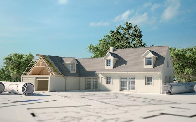 3d-weergave van een huis dat wordt gerenoveerd bovenop blauwdrukken met tuin