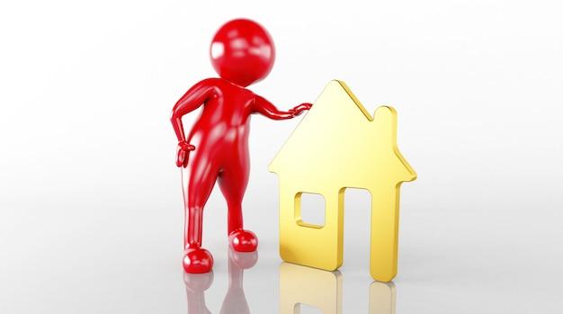 3d-weergave van een huis liniaal model