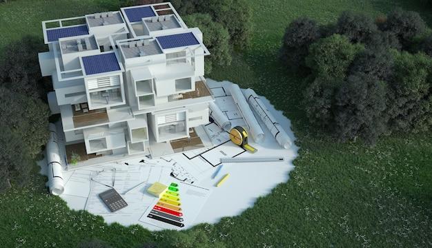 3d-weergave van een huis met blauwdrukken, energiegrafieken en andere documenten in een veld