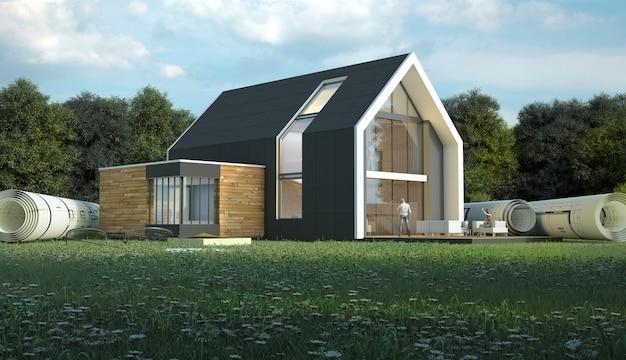 3d-weergave van een huis met blauwdrukken in een veld