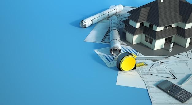 3d-weergave van een huismodel met een gezin bovenop blauwdrukken, energie-efficiëntiegrafieken en andere documenten