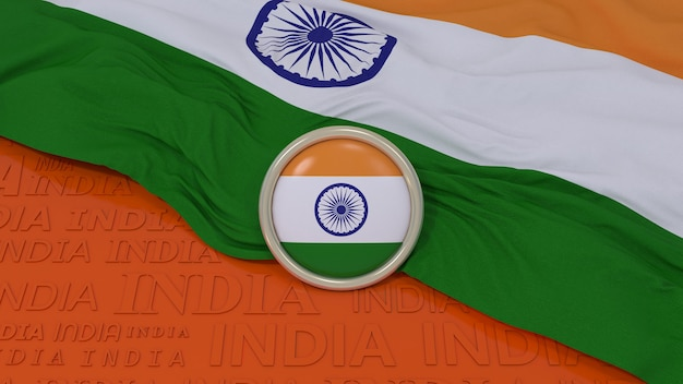 3d-weergave van een indiase nationale vlag en glanzend kenteken over oranje achtergrond