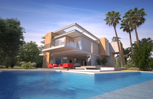 3d-weergave van een indrukwekkende moderne villa met zwembad en exotische tuin