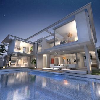 3d-weergave van een indrukwekkende open villa met zwembad