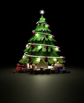 3d-weergave van een kerst met versieringen