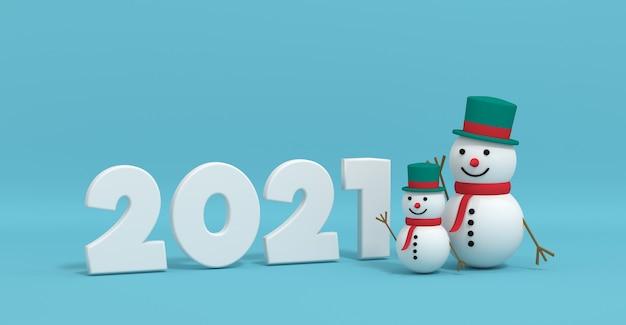 3d-weergave van een kerstmissneeuwman in de buurt van de inscriptie 2021