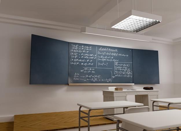 3d-weergave van een klassieke school klas met wiskundige formules in het bord
