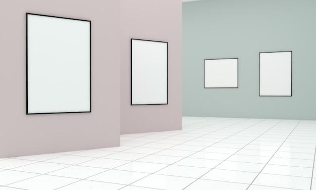 3d-weergave van een kunstgalerie-tentoonstelling