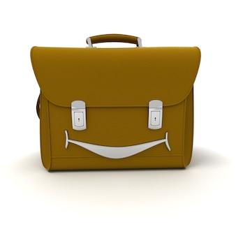 3d-weergave van een lederen tas met een brede glimlach