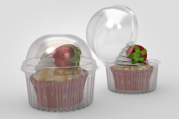3d-weergave van een lege transparante cup cake containers geïsoleerd op een witte achtergrond. geschikt voor uw ontwerpproject. twee aardbeiencupcakes toegevoegd