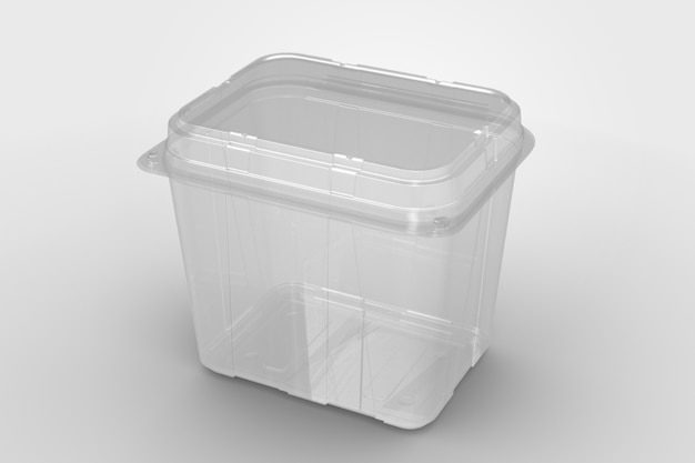 3d-weergave van een lege transparante hoge clam shell-container geïsoleerd op een witte achtergrond. geschikt voor ontwerpproject.