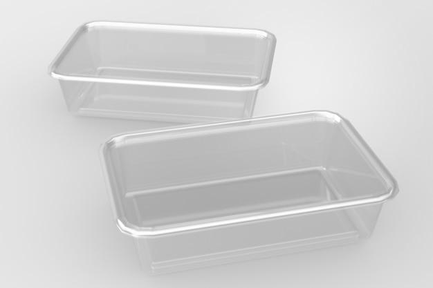 3d-weergave van een lege transparante magnetron containers geïsoleerd op een witte achtergrond. geschikt voor uw ontwerpproject.