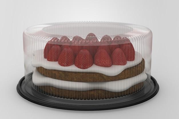 3d-weergave van een lege transparante taartcontainers geïsoleerd op een witte achtergrond met zwarte basis. geschikt voor uw ontwerpproject. aardbeientaart toegevoegd.