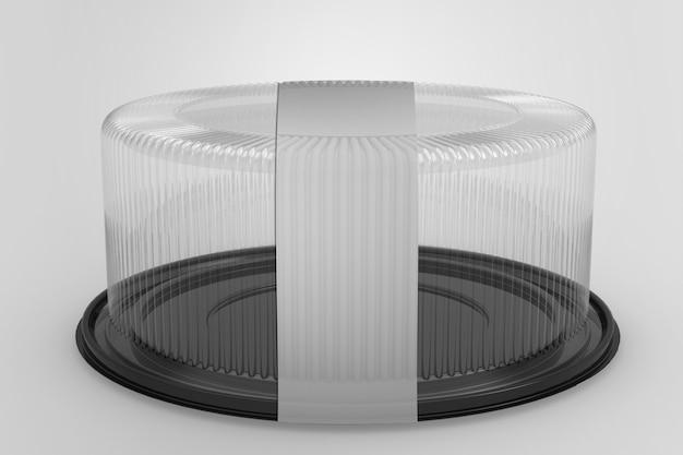 3d-weergave van een lege transparante taartcontainers geïsoleerd op wit met zwarte basis