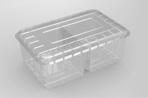 3d-weergave van een lege transparante twee compartimenten containers geïsoleerd op een witte achtergrond. geschikt voor uw ontwerpproject.