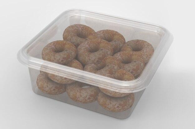 3d-weergave van een lege transparante vierkante containers geïsoleerd op een witte achtergrond met zwarte basis. geschikt voor uw ontwerpproject. verse donuts binnen toegevoegd.