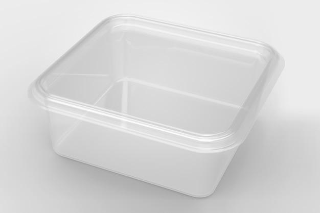 3d-weergave van een lege transparante vierkante containers geïsoleerd op een witte achtergrond met zwarte basis. geschikt voor uw ontwerpproject.