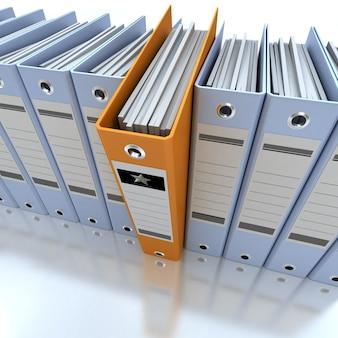 3d-weergave van een lijn van kantoor-ringbanden met een uitsteekt