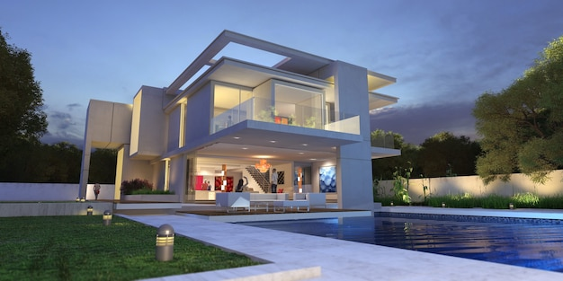3d-weergave van een luxe modern herenhuis met zwembad