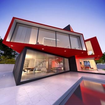 3d-weergave van een luxe modern huis in zwart en rood