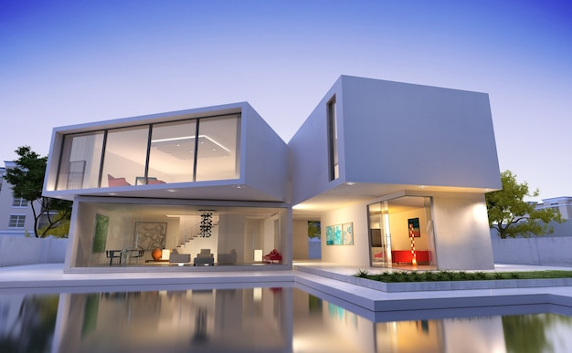 3d-weergave van een luxe modern huis