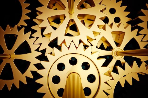 3d-weergave van een mechanisme van tandwielen in gouden tinten ideaal voor achtergronden