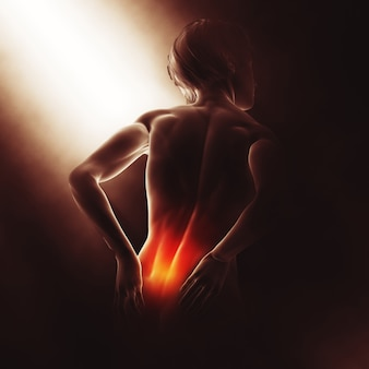 3d-weergave van een medisch beeld met een vrouw die haar pijn in de rug houdt