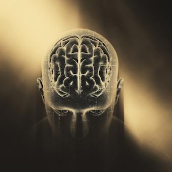 3d-weergave van een medische achtergrond met technologieontwerp op mannelijke figuur met gemarkeerde hersenen