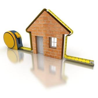 3d-weergave van een meetlint in de vorm van een huis