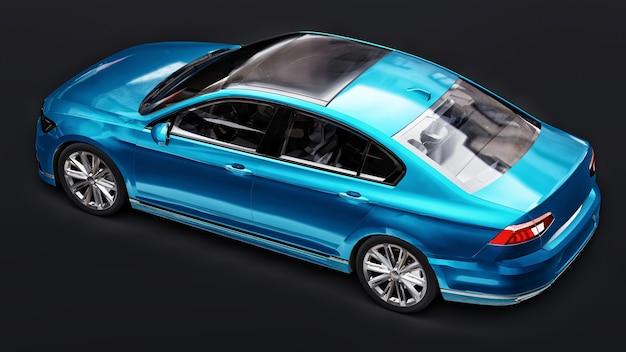 3d-weergave van een merkloze generieke blauwe auto in een zwarte studio-omgeving