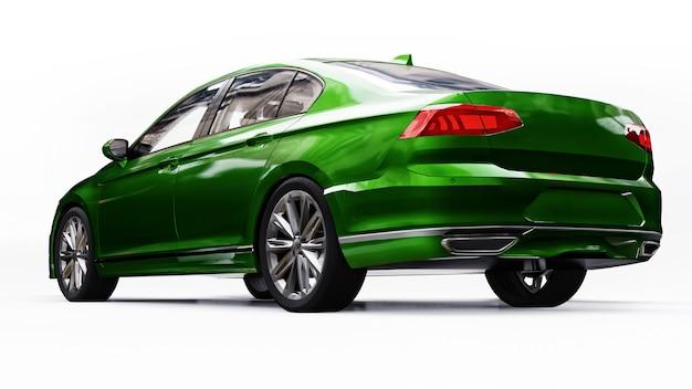 3d-weergave van een merkloze generieke groene auto in een witte studio-omgeving