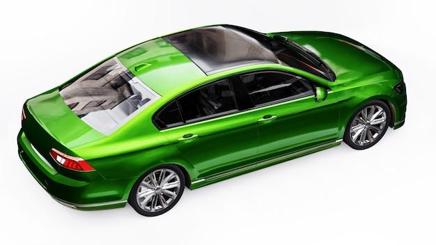 3d-weergave van een merkloze generieke groene auto in een witte studio-omgeving.