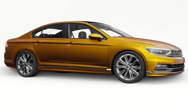 3d-weergave van een merkloze generieke oranje auto in een witte studio-omgeving.