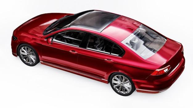 3d-weergave van een merkloze generieke rode auto in een witte studio-omgeving.
