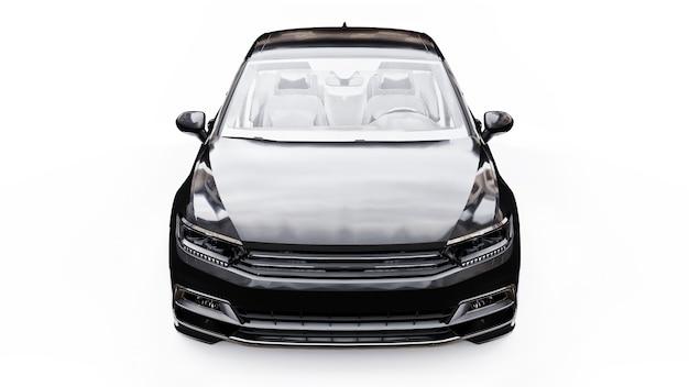 3d-weergave van een merkloze generieke zwarte auto in een witte studio-omgeving.