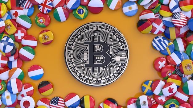 3d-weergave van een metalen bitcoin omgeven door een heleboel vlaggen van wereldnaties over oranje achtergrond