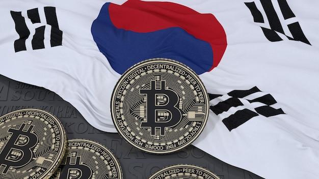 3d-weergave van een metalen bitcoin op de zuid-koreaanse vlag