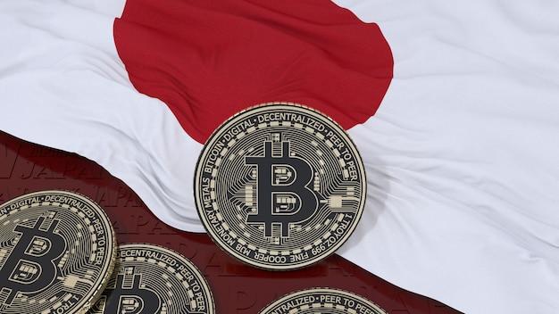 3d-weergave van een metalen bitcoin op een japanse vlag