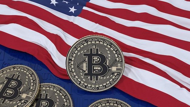 3d-weergave van een metalen bitcoin over de vlag van de verenigde staten van amerika