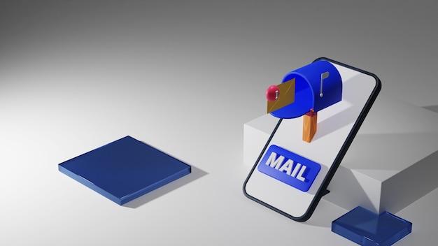 3d-weergave van een mobiele telefoon met een brievenbus in het scherm