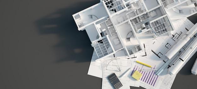 3d-weergave van een mock-up flatgebouw bovenop een zwart oppervlak met hypotheekaanvraagformulier, rekenmachine, blauwdrukken, enz.