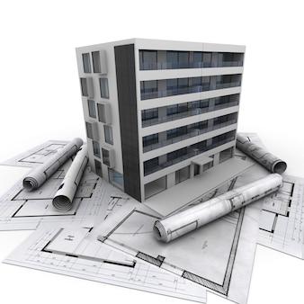 3d-weergave van een modern flatgebouw bovenop blauwdrukken