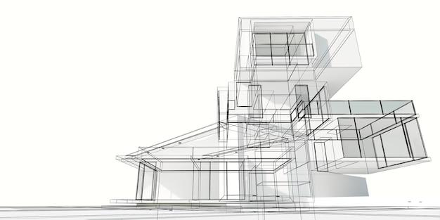 3d-weergave van een modern huisproject gebouwd op verschillende onafhankelijke niveaus