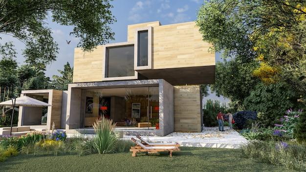 3d-weergave van een modern kubusvormig huis in hout en beton met zwembad en tuin
