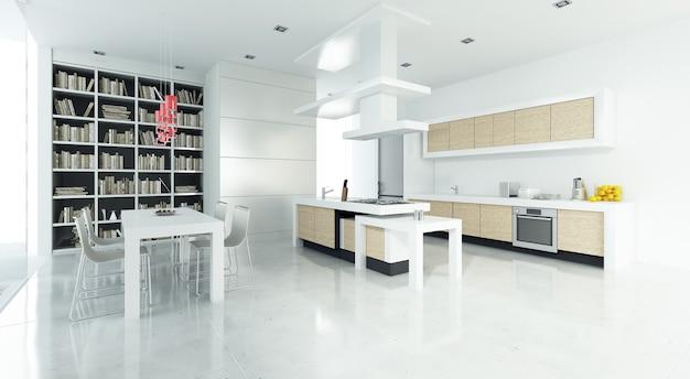 3d-weergave van een modern luxe interieur met open keuken en bibliotheek