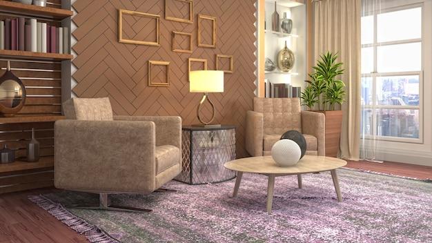 3d-weergave van een moderne en gezellige woonkamer