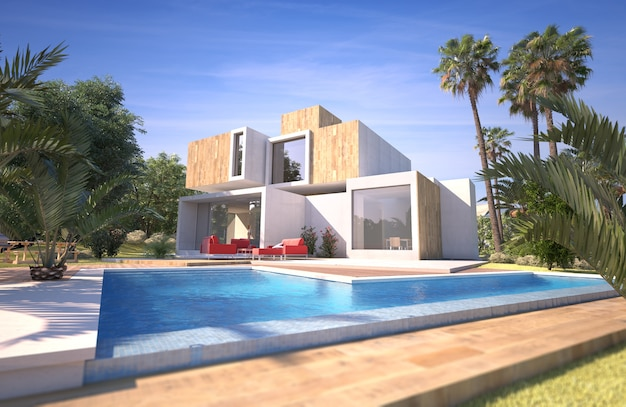 3d-weergave van een moderne kubieke woning met zwembad in een tropische tuin