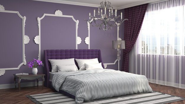 3d-weergave van een moderne slaapkamer